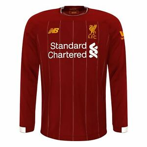 designer fashion 50ce3 5cc96 Details about Liverpool FC Home Kit Red Long Sleeve Mens Football Shirt  2019/2020 LFC Official