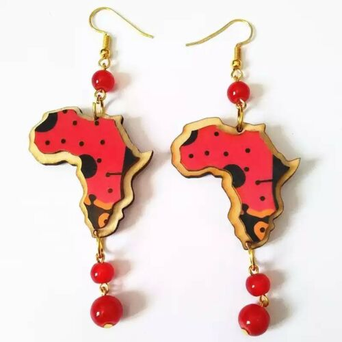 Vintage 3D African Map Wooden  Afrocentric Ethnic Tribal Earrings Boho Jewellery