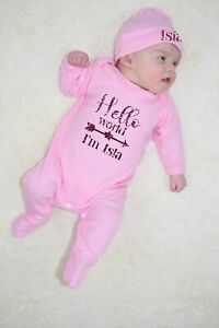 Personalised Hello World Im Name Baby Grow and Hat Set Hospital Outfits Newborn Baby Clothing Heart