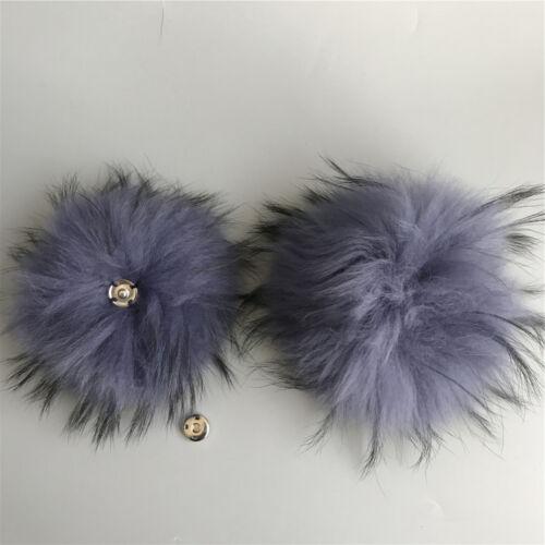 "15cm 6/"" 100/% Real Raccoon Fur Pom Pom Ball w Snap Button DIY Beanie Hat Keyring"