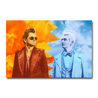 Good Omens TV Series David Tennant Michael Sheen SIlk Canvas Poster Print 24x36/'