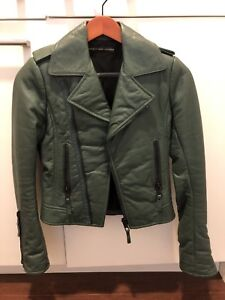 en soldes 05fa1 75899 Details about Balenciaga Leather Motocycle Jacket Size 36 Small Green