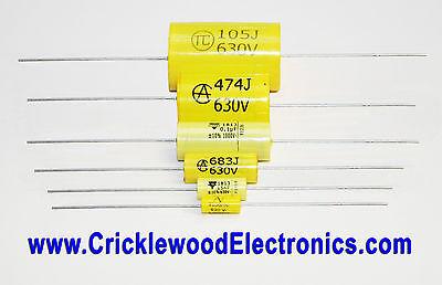 Polyester Axial Capacitor 250V 400V 630V1000V 1000pF to 4.7uF Audio Quality MKT