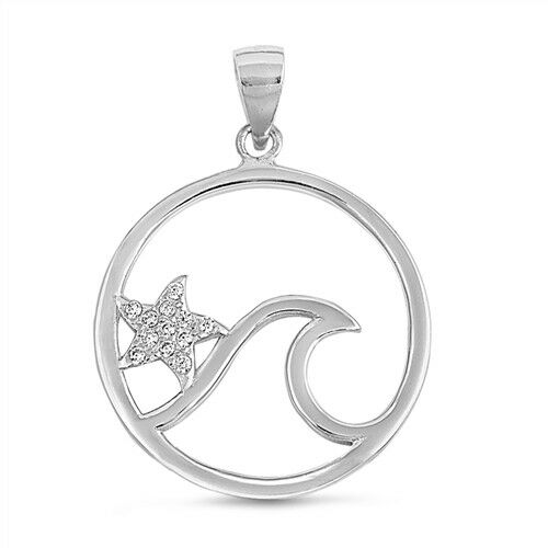 USA Seller Pendant Ocean Wave and Starfish Sterling Silver 925 Jewelry Clear CZ
