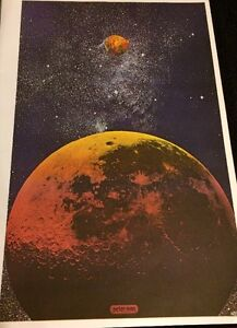 Vintage-Rare-Peter-Max-psychedelique-Lunes-galaxy-etoiles-planetes-Outer-Space-Art