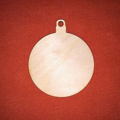 10 pcs 6cm CHRISTMAS BAUBLE CHRISTMAS WOODEN SHAPE CRAFT DESIGN HANGING TAG