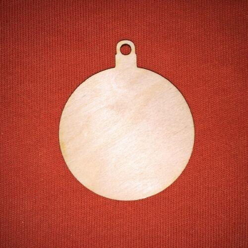 10 pcs 6cm CHRISTMAS BAUBLE CHRISTMAS WOODEN SHAPE CRAFT DESIGN HANGING TAG
