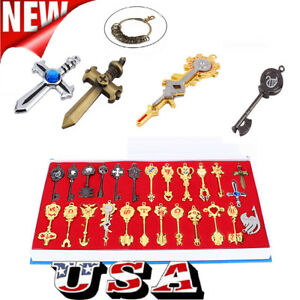 24pcs-Anime-Fairy-Tail-Lucy-Cosplay-Keys-Necklace-Pendant-Keychain-Alloy-Gift-US