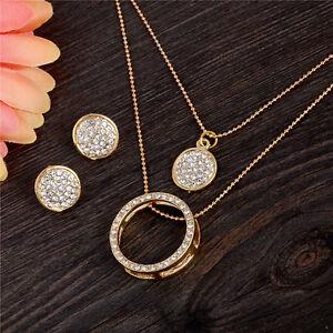 18k-Gold-Plated-Austrian-Crystal-Necklace-Earrings-Fashion-Women-039-s-Jewelry-Set