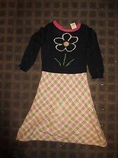 Anthropologie kids 2 T dress Field Flower sweater full skirt plaid pink navy