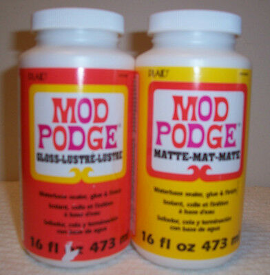 Mod Podge 16 Ounce Each Glue Gloss & Matte Finish Waterbase Sealer New