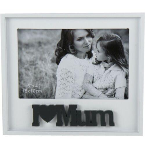"""Fotorahmen /""""I love mum/"""" Holz Bilderrahmen Muttertag Fotohalter Bilderhalter"""