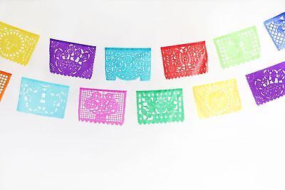 Mexican papel picado banner LARGE multicolor PLASTIC
