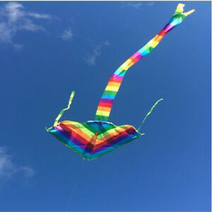 Easy-Fly-Nylon-Rainbow-Color-Triangle-Kite-Outdoor-Sports-Children-Cute-Toys