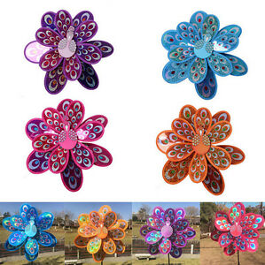 Double-Layer-Peacock-Laser-Sequins-Windmill-Colorful-Wind-Spinners-Outdoor-Toys