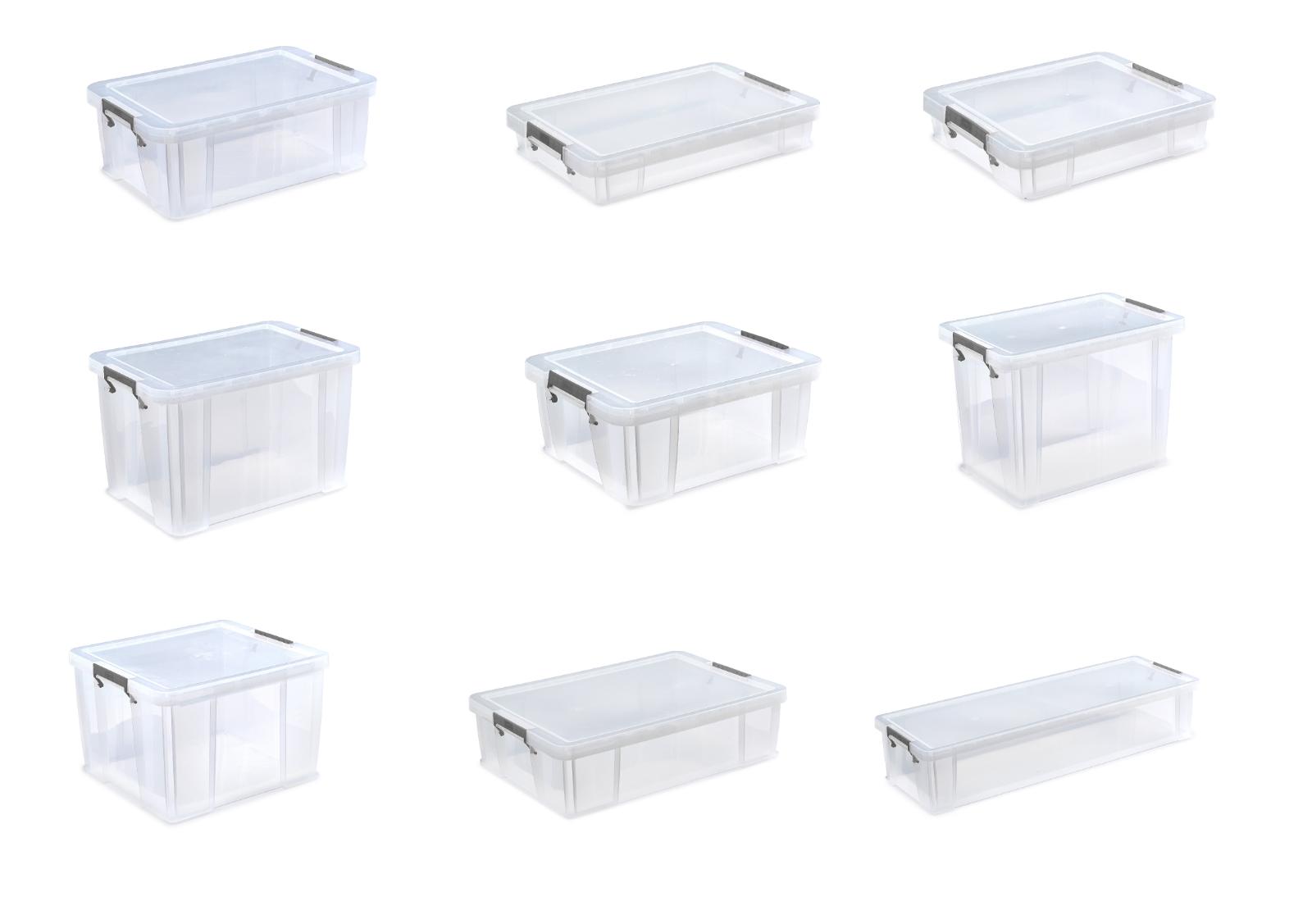 Scatole di Plastica Trasparente Impilabili sottoletto argentoo con morsetto Tidy titolari sul petto