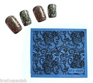 Nail-Art-Water-Decals-Decoration-Black-Lace-Flowers-Stamping-Effect-Gel-Polish-9