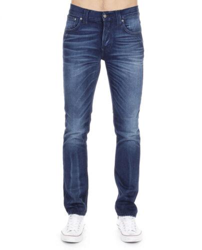 Grim Tim Blue AshVintage Blau Nudie Herren Slim Fit Stretch Jeans Hose