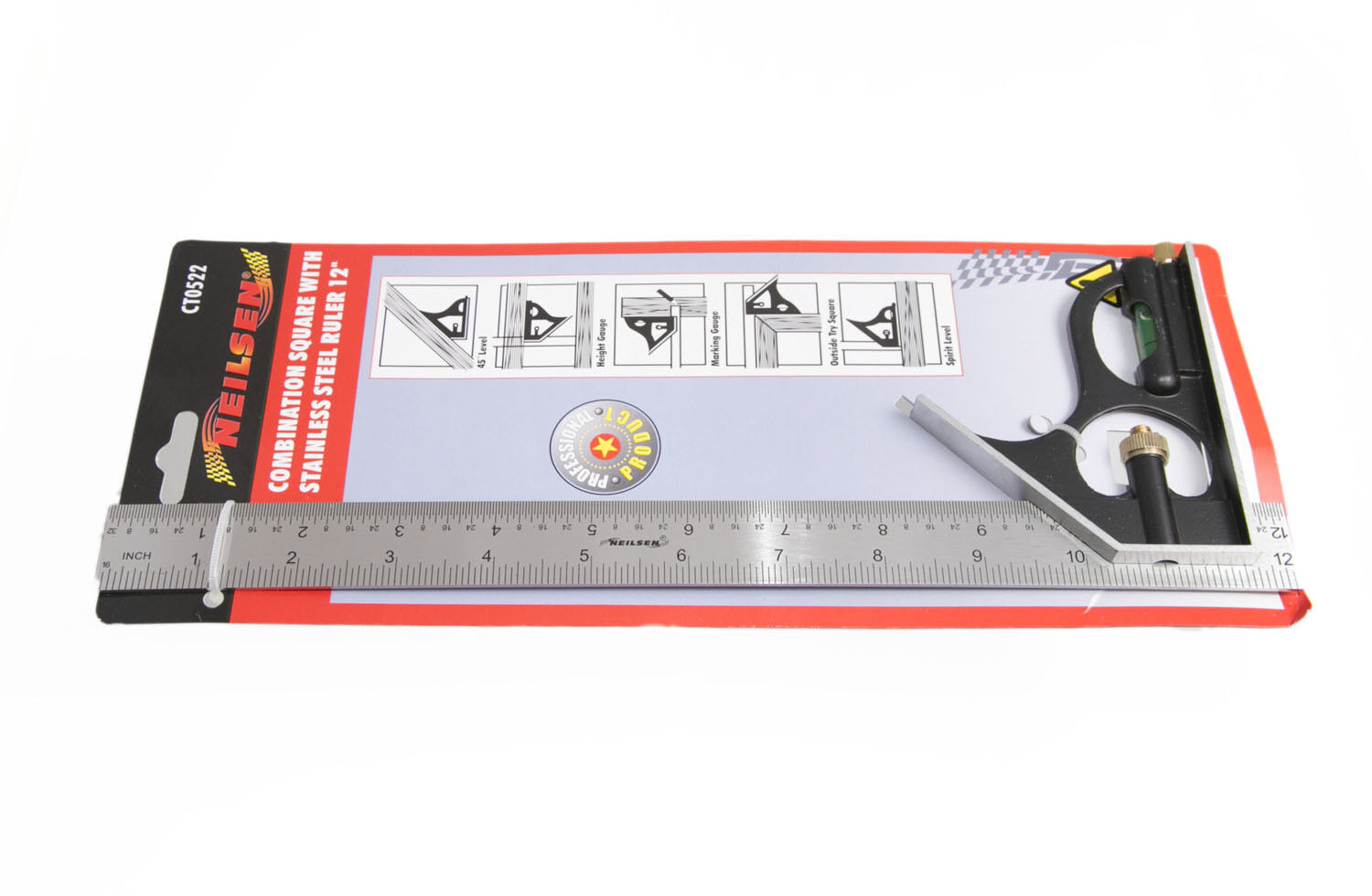 Pk of 12 x Nielson Combination Square And Level With 12  Stainless Steel Ruler