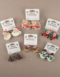 Pair-of-Flashing-Christmas-Earrings-Santa-Xmas-Trees-Snowmen-Rudolph-J055