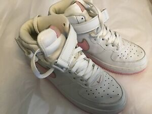 low priced b244f cf55c Image is loading Nike-Air-Force-One-High-Tops-White-Pink-