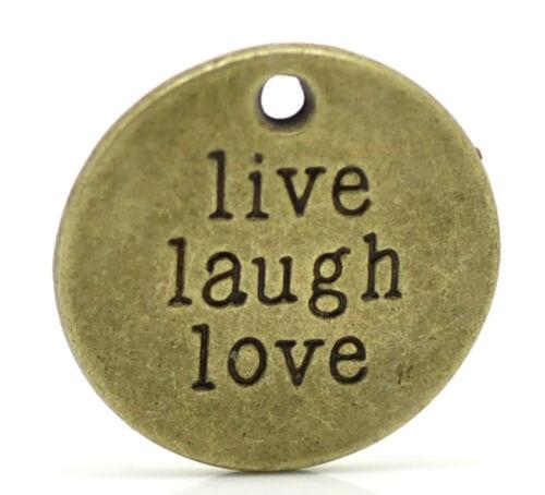 Großverkauf Bronzefarbe ´Live Laugh Love´ Rund Charm Anhänger für Halskette 20mm