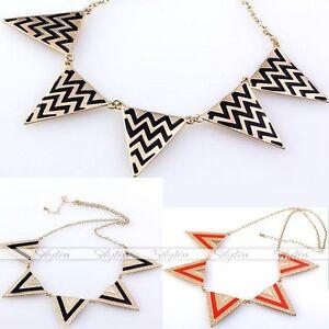Fashion-Punk-Metal-Triangle-Geometry-Necklace-Collar-Bib-Choker-Gold-Tone