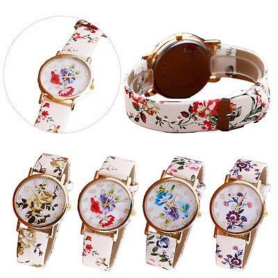 Geneva WATCH Women Watch Flower Pattern Leather Band Analog Quartz Wrist Watches