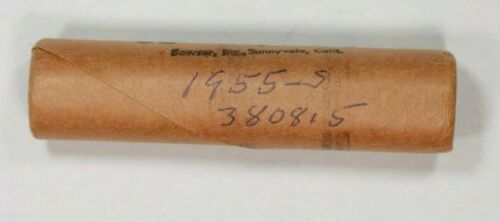 1955 S LINCOLN WHEAT CENT PENNY 1C OLD BANK WRAPPED OBW 1 FULL ROLL 50 COINS