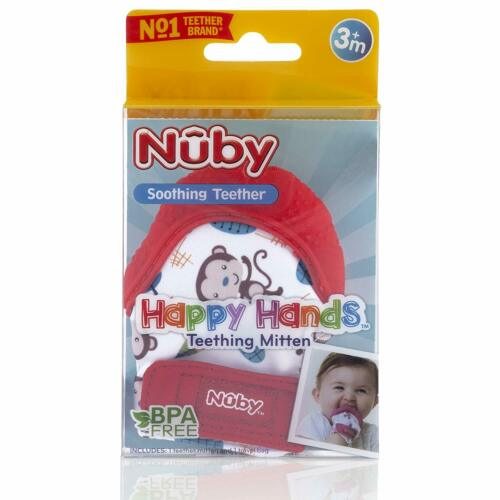 Nuby Soothing Teething Mitten with Hygienic Travel Bag Red Monkey