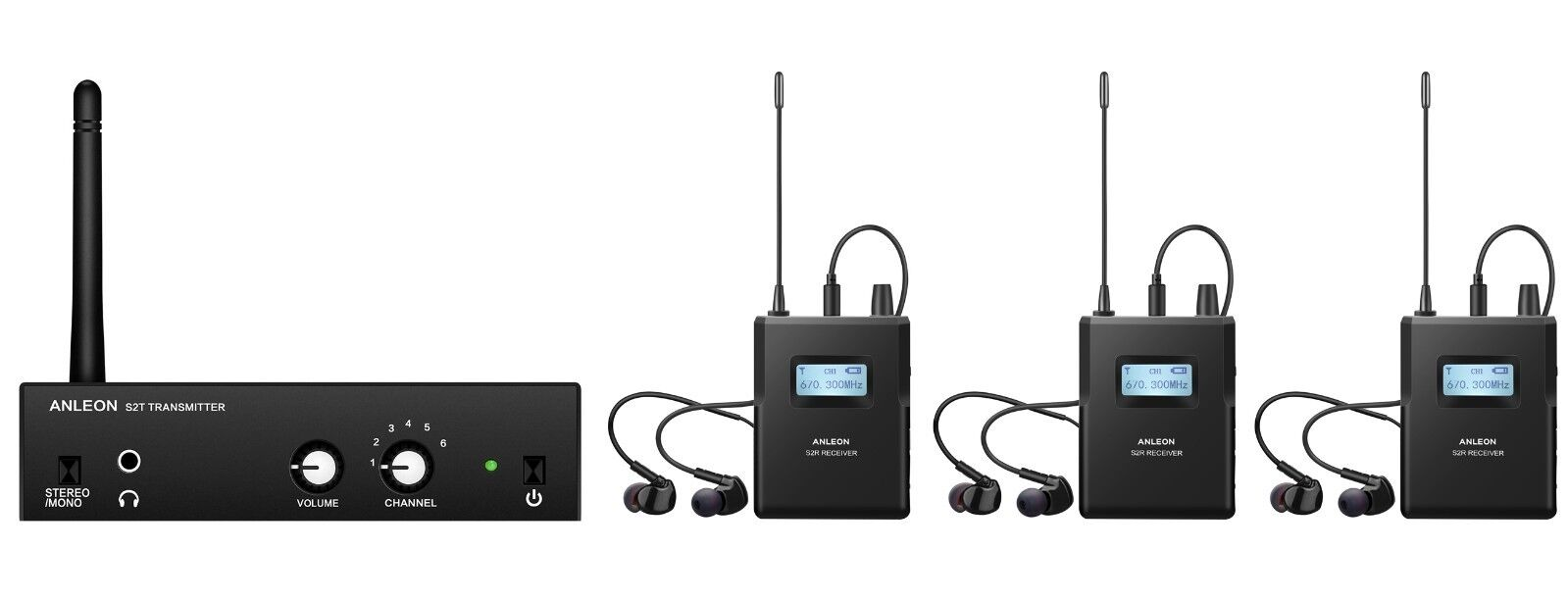 Wireless In-ear Monitor System For Recording Studio Stage monitor (3 receiver)