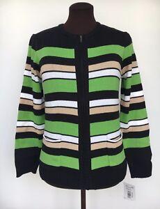 Nwt Southern Lady Women's Size S Knit Cardigan-black Green Tan White Long Sleeve