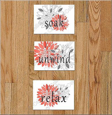 Coral Gray Bathroom Wall Art Picture Prints Decor Floral Peony Dahlia Quotes Art