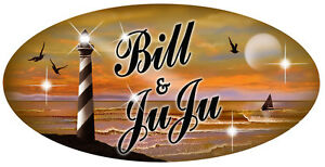 "Lighthouse Sunset Vinyl Decal Bumper Sticker Personalize Gifts Any Text 4"" x 8"""