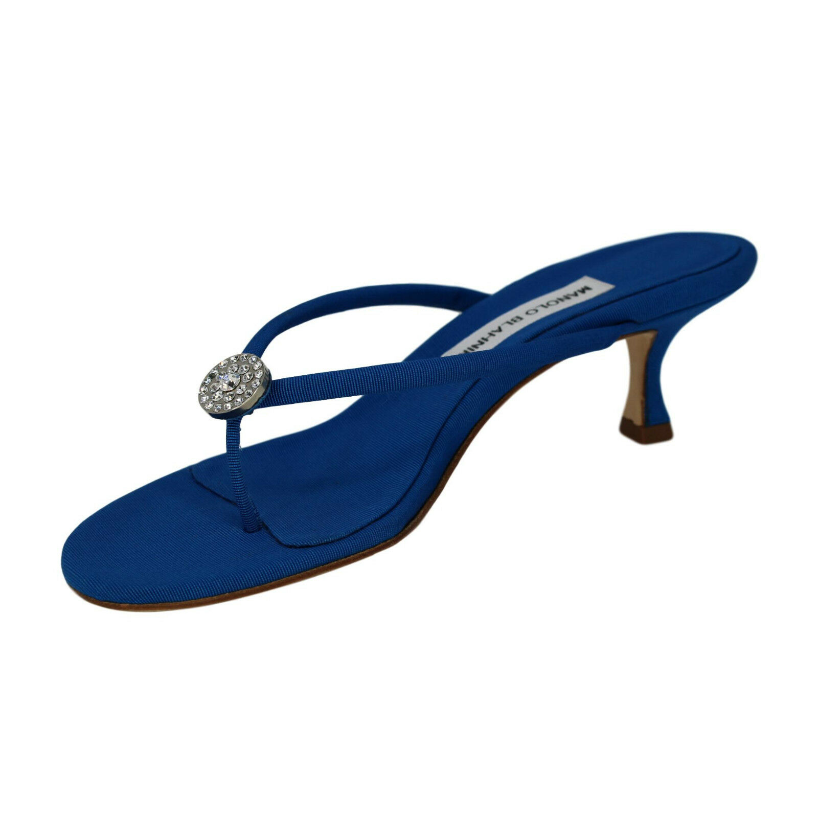Manolo blahnik azul Grogrén  Dole    Cristal Sandalias-US 8.5, Ret   495  ¡no ser extrañado!