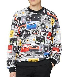 Love-Moschino-Mens-Multicolour-Cassette-Print-Sweatshirt-Size-M