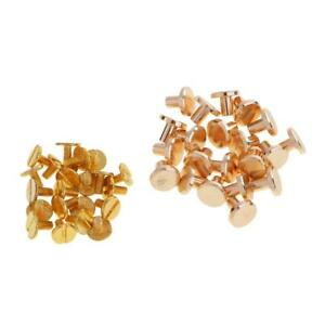 20Sets Brass Flat Head Rivets Screwback for Leather Bags//Belt//Strap DIY 5mm//8mm