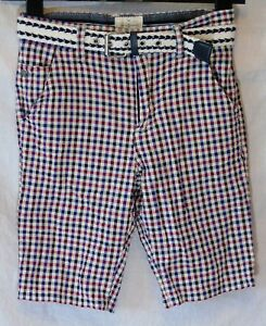 Garcons-Jasper-Conran-Bleu-Rouge-Blanc-Texture-Carreaux-Ceinture-a-La-Taille-Shorts-Age-10-ans