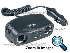 Anello RMS7 12v Auto Multi TWIN Sigaretta Accendino Presa Adattatore CaricaBatterie USB