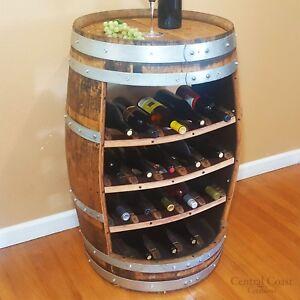 Image Is Loading WINE BARREL Wine Rack 18 Bottle Rustic Furniture