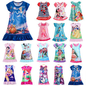 Image is loading Baby-Girls-Kids-Summer-Princess-Moana-Elsa-Nightdress- 762c82948