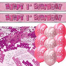 Pink Glitz 1st Birthday Girl Banner Party Decoration Pack Kit Set