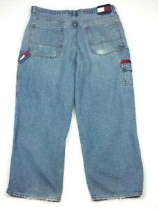 Vintage-Tommy-Hilfiger-Cargo-Carpenter-Distressed-Jeans-FIT-38x29-Tag-38x30