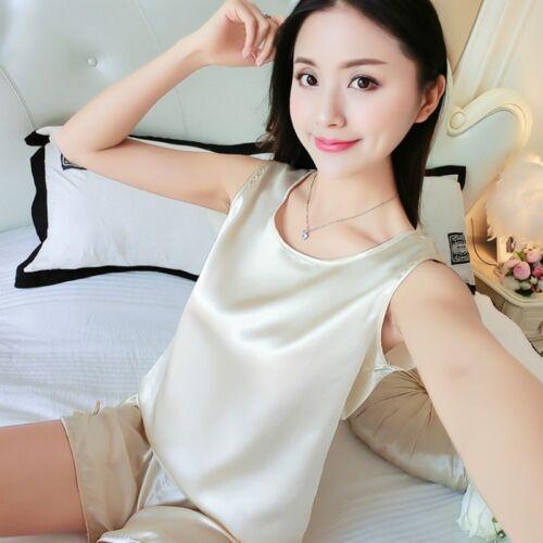 Lady Satin Faux Silk Shorts Camisole Tank Tops Pajamas Sleepwear Nightwear Suits