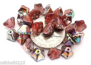Vitrail Jet 25 8x3mm Czech Glass Flat Flower Beads