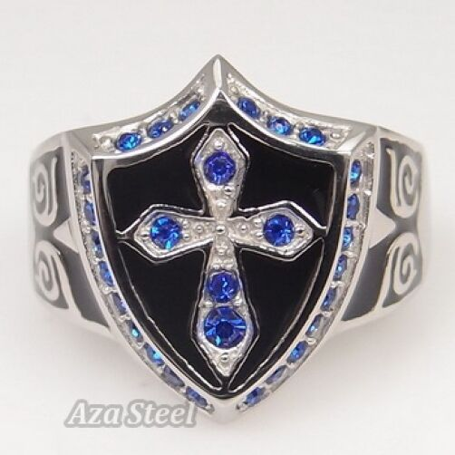 Men's Silver Sapphire Crystal Cross Noble Knight Stainless Steel Ring Size 8-13