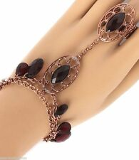 Deep Red Chain Dangles Slave Ring Attached Women New