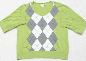 Petite-Large-PL-Green-Cotton-Long-Sleeve-V-Neck-Sweater-Top-Woman-St-Johns-Bay