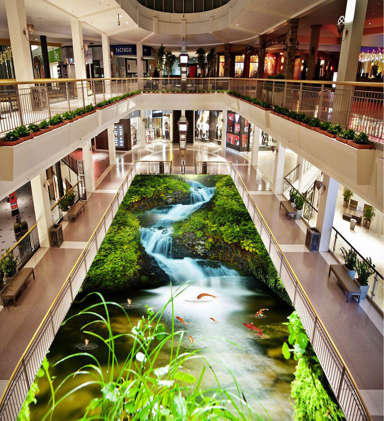 Wandering Stream 3D Floor Mural Photo Flooring Wallpaper Home Print Decoration