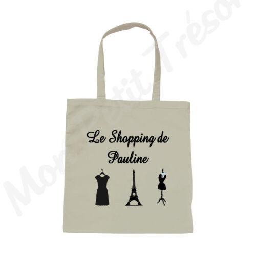 Sac Femme coton blanc Tour Eiffel Shopping glam Paris avec prénom Personnalisé